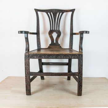 18th C. Country Oak Chair