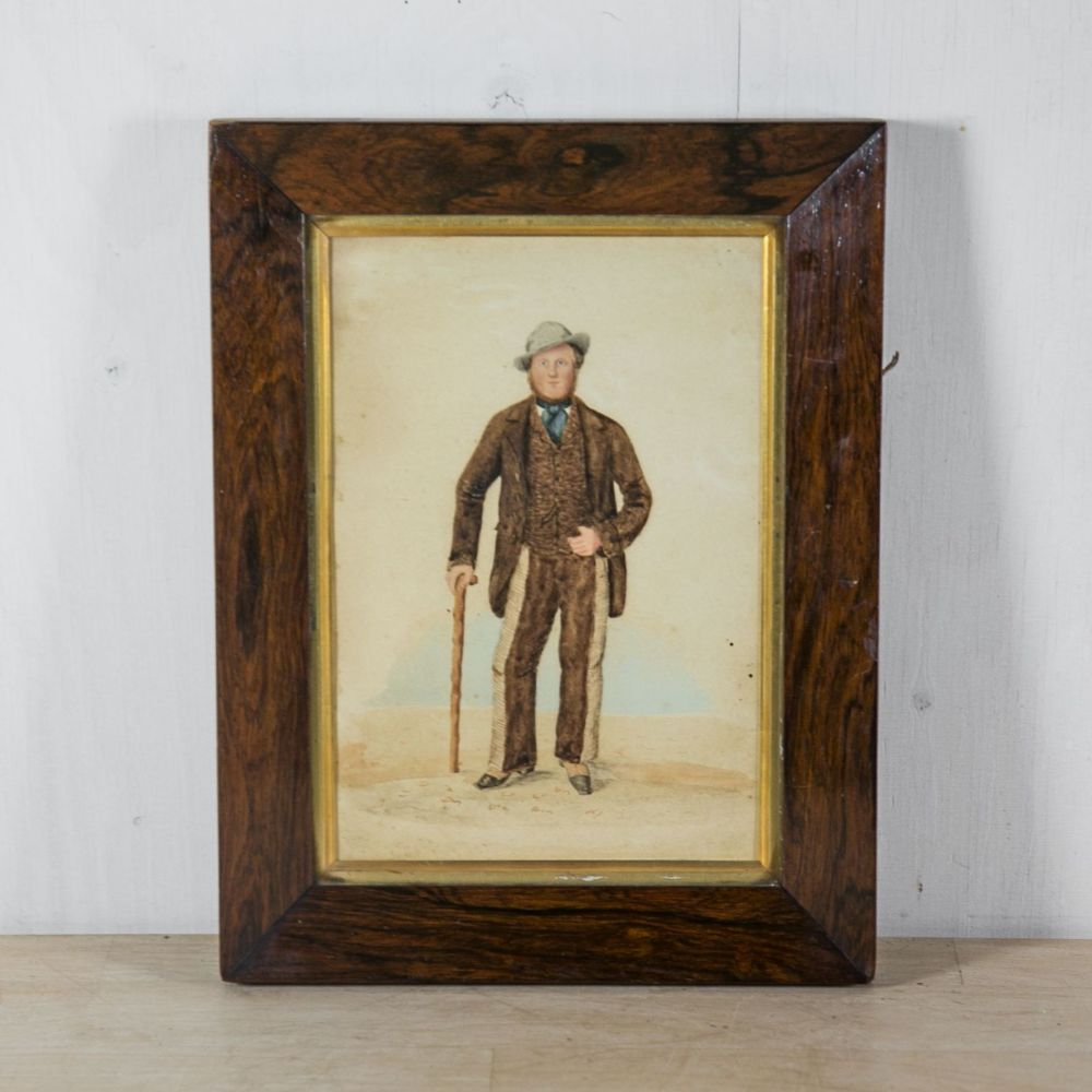 19th C. Naive Watercolour of a Countryman £425.00