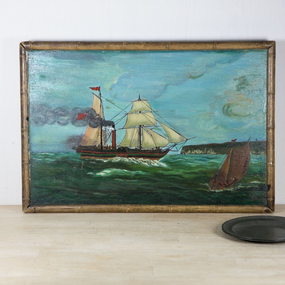 19th C. Painting of a Paddle Steamer and small boat £950