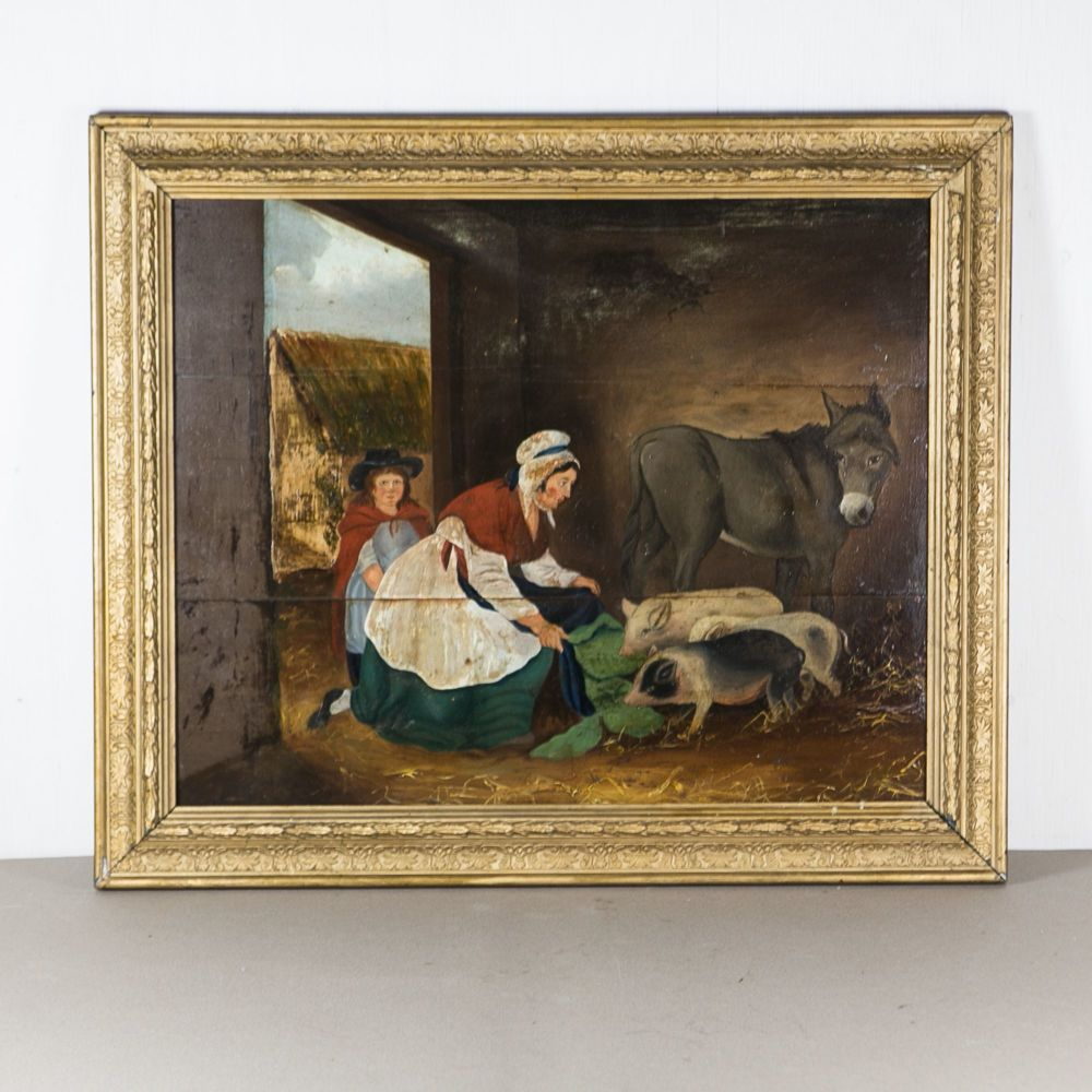 19th C. English Naive School Oil on Board framed £850.00