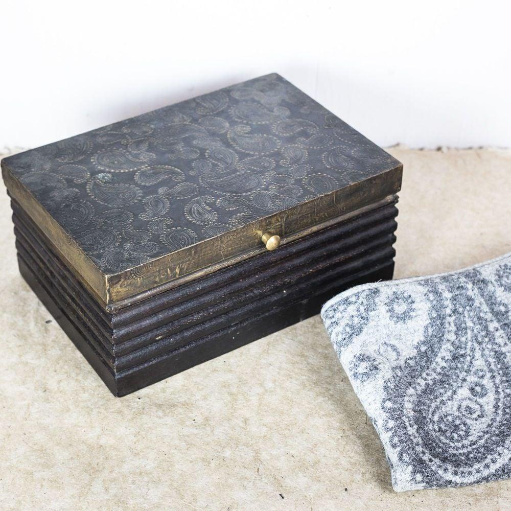 Decorative Paisley rapousse patterned box  1940s. £85.00