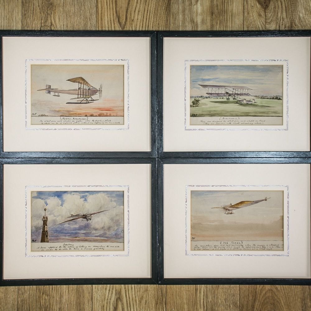 Set of Naive Early Flying Aeroplane Paintings £695.00