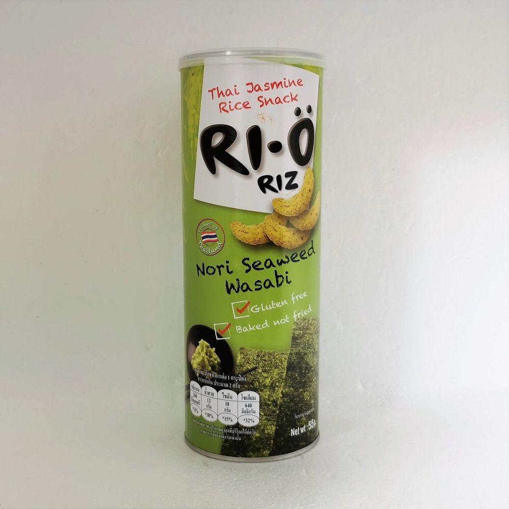 Ri-O Thai Jasmine Rice Snack Nori Seaweed Wasabi Flavour 55g