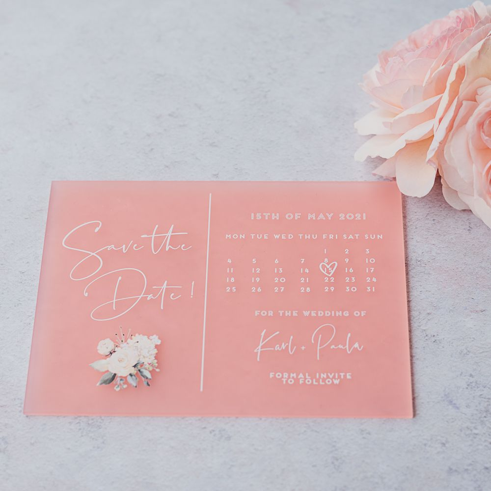frosted wedding save the dates