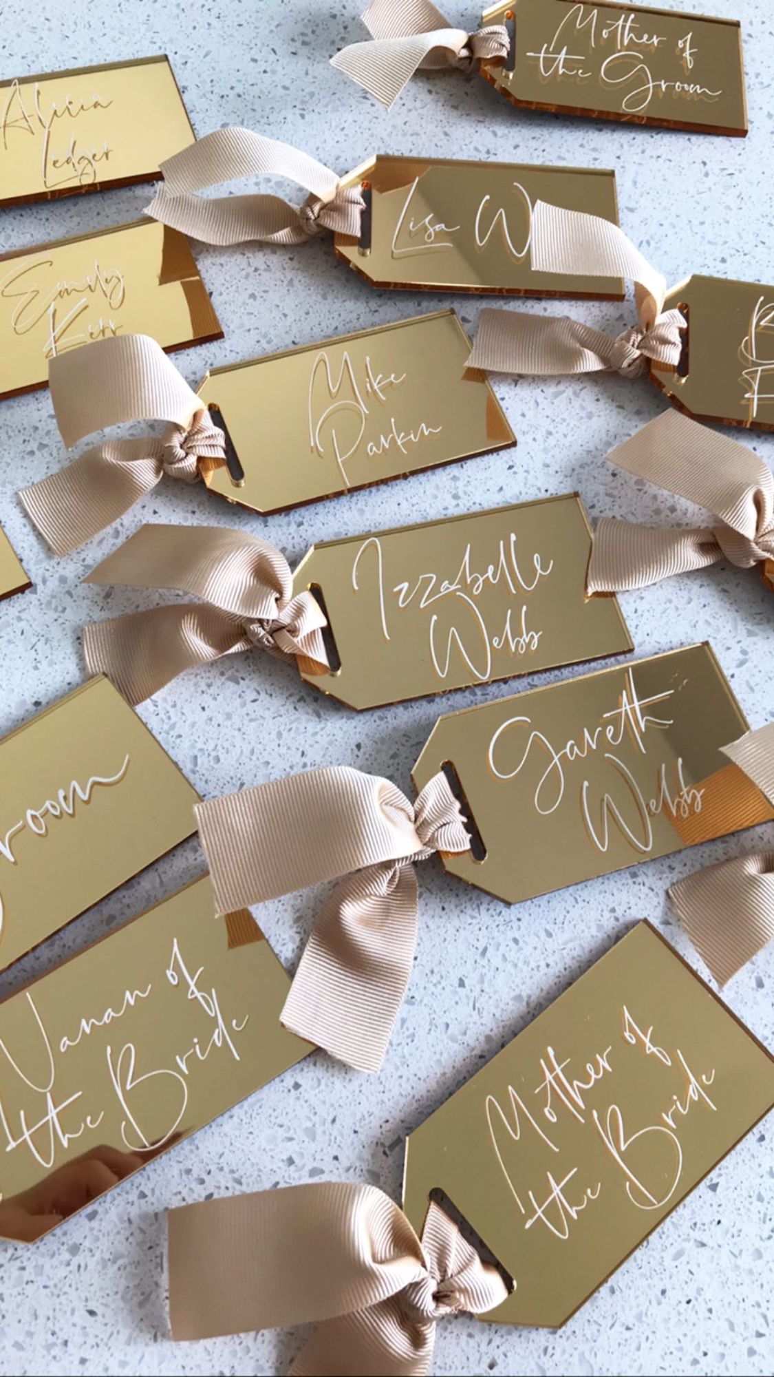 laser cut wedding table name settings