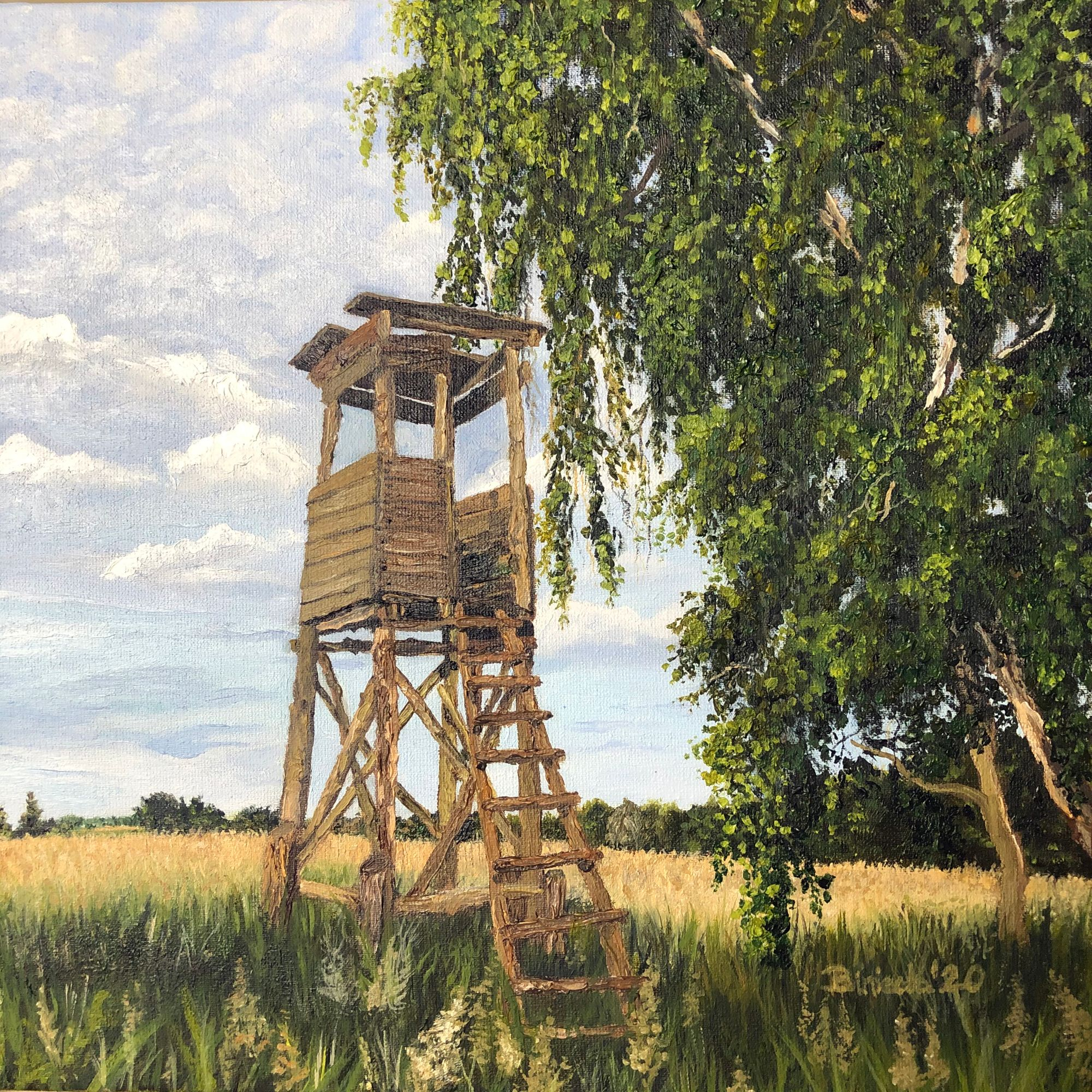 Hunting tower oil painting