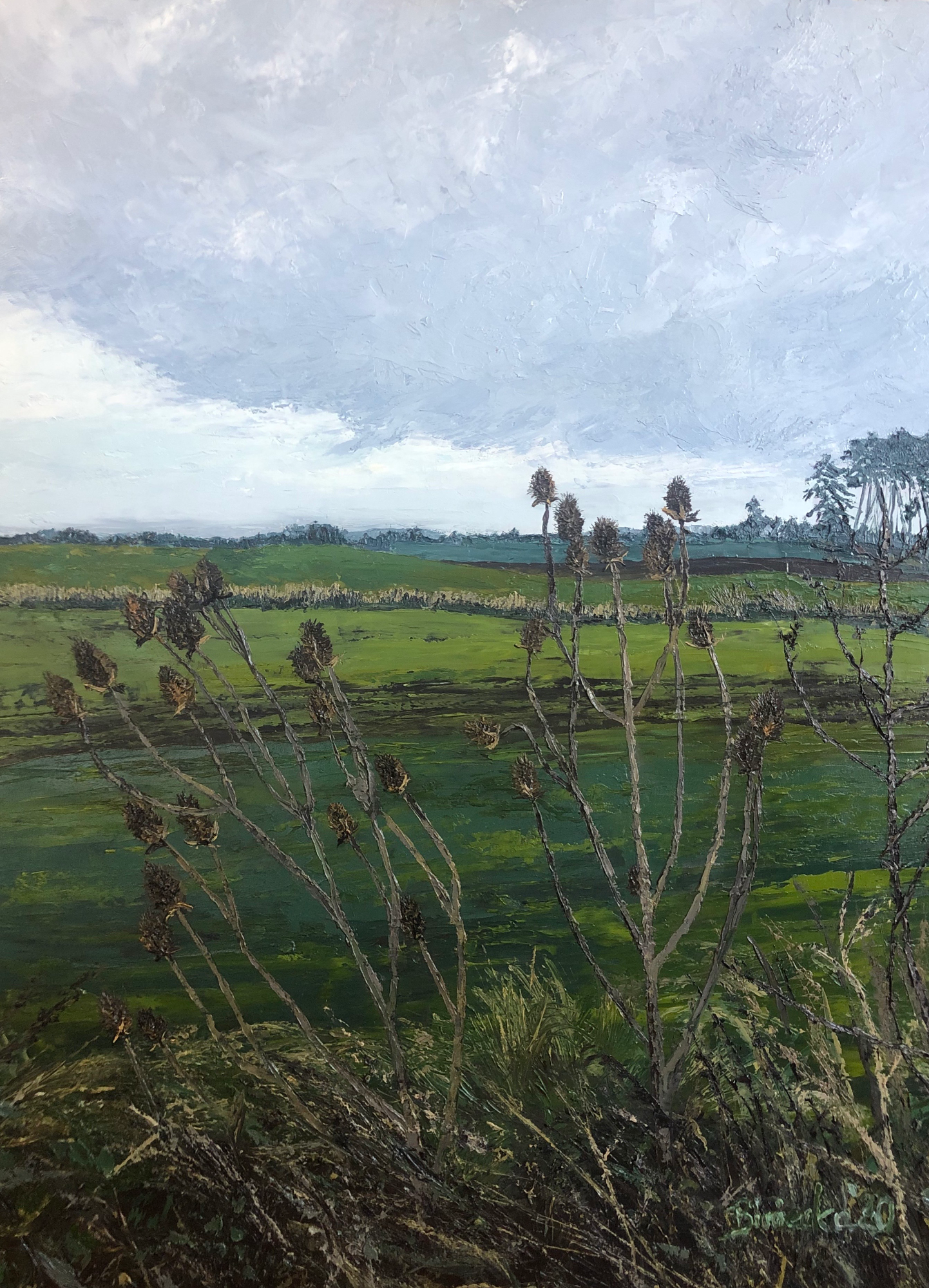 Winter thistles palette knoves painting