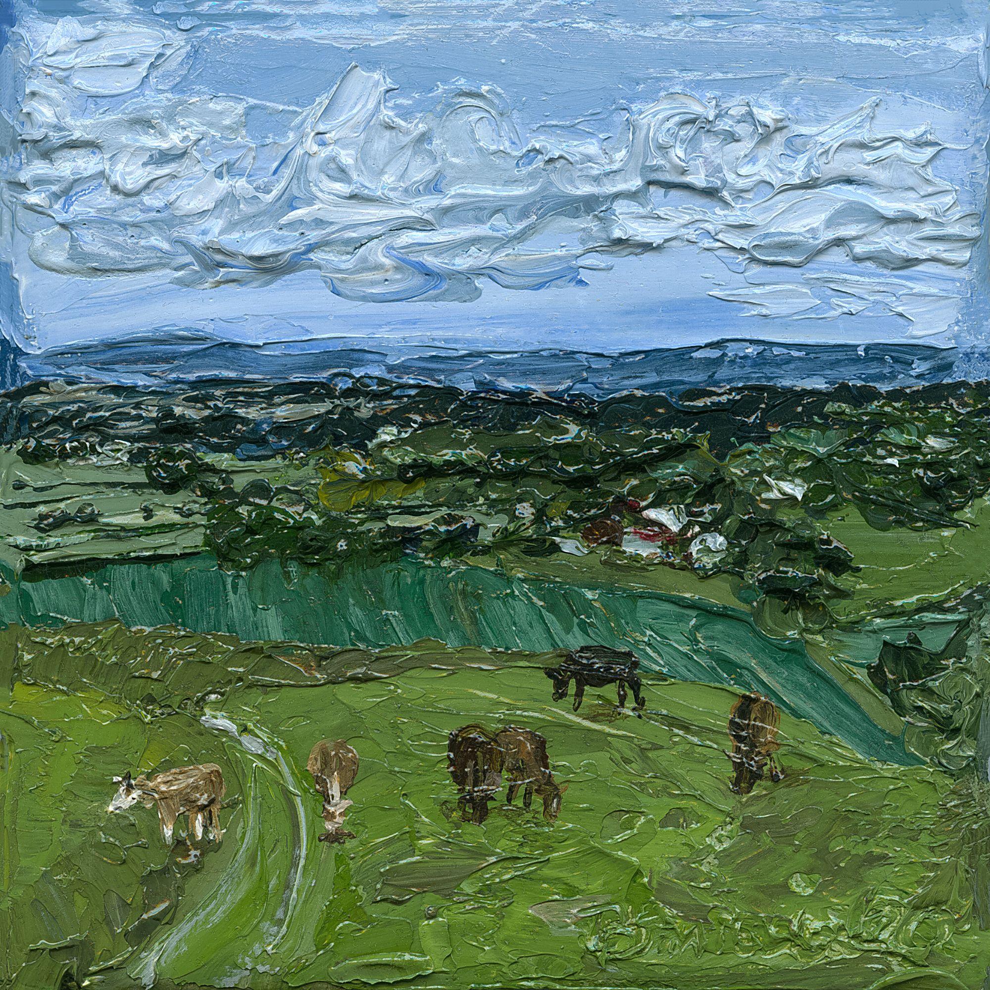 Painting of cows grazing near Sullington Hills