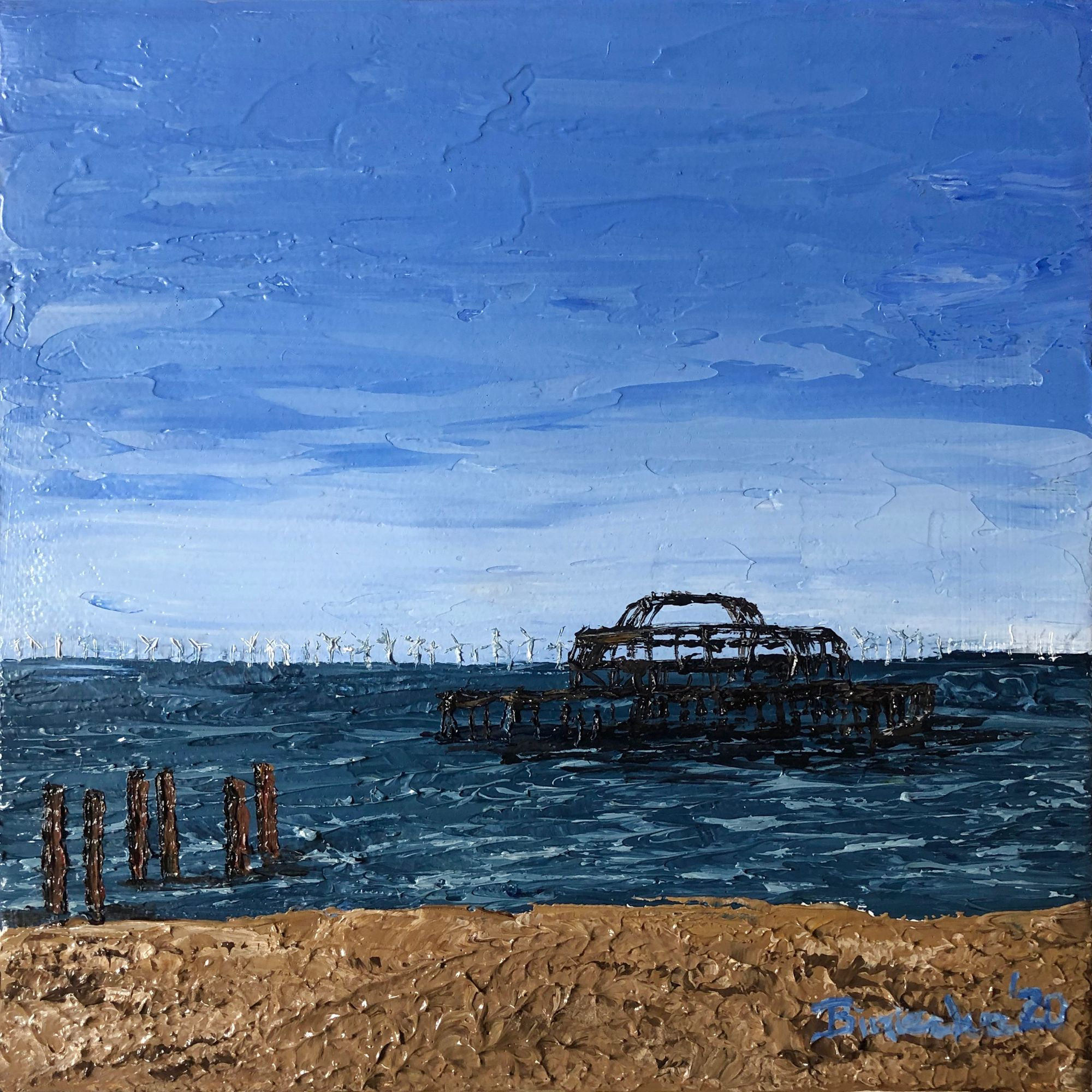 Seascape painting of the West Pier in Brighton