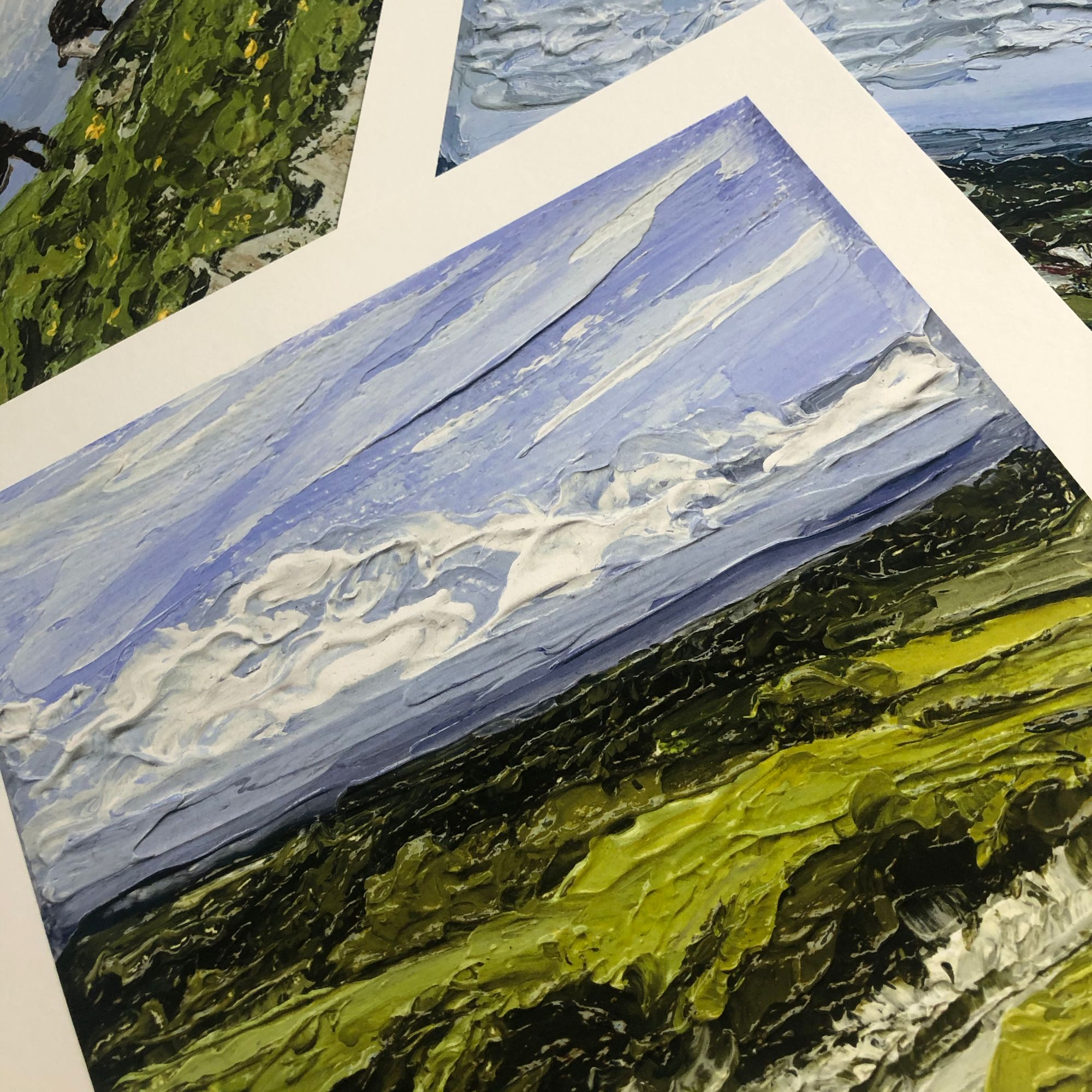 Cluster of landscape giclée prints of Sullington Hills