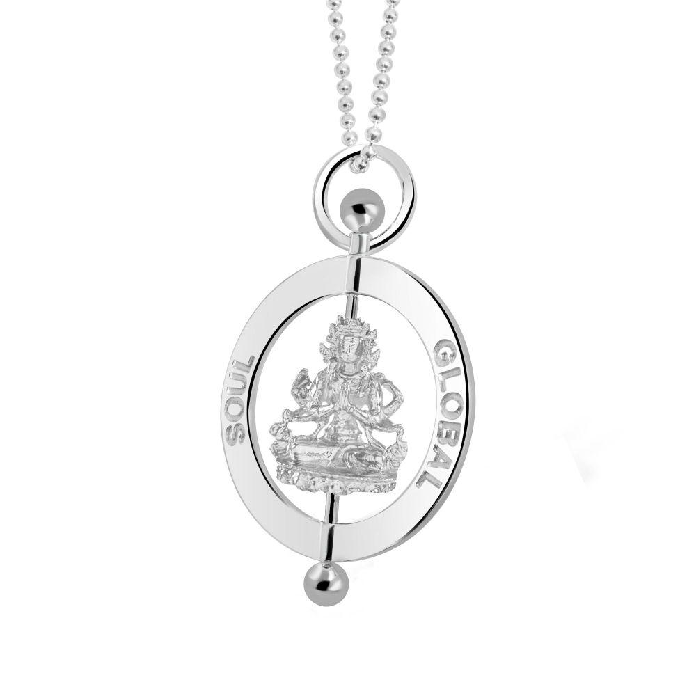Compassion Buddha Silver Pendant Necklace 4cm