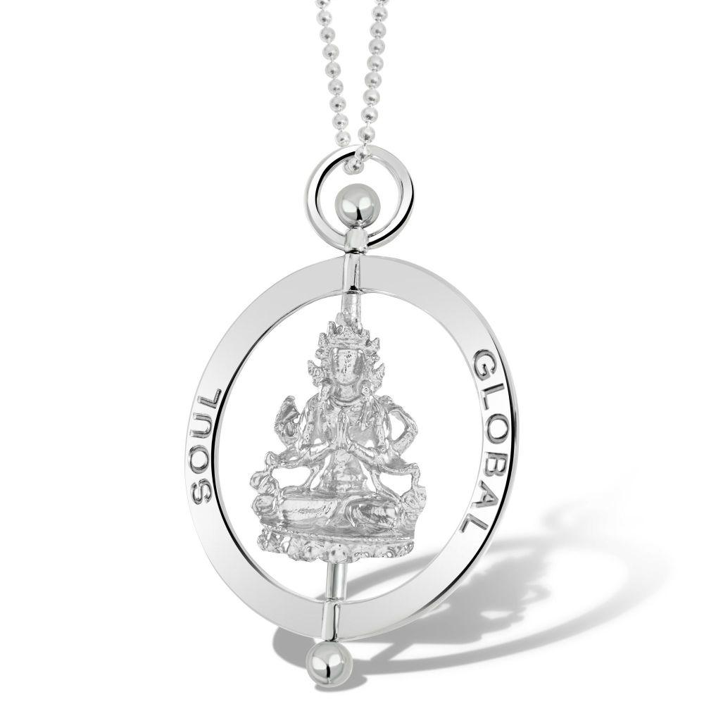 Compassion Buddha Silver Pendant Necklace 5cm