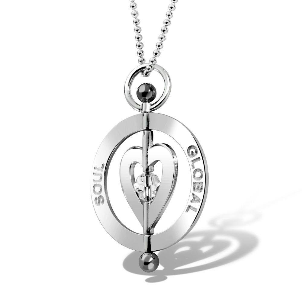 Harmony Heart Silver Pendant Necklace 4cm