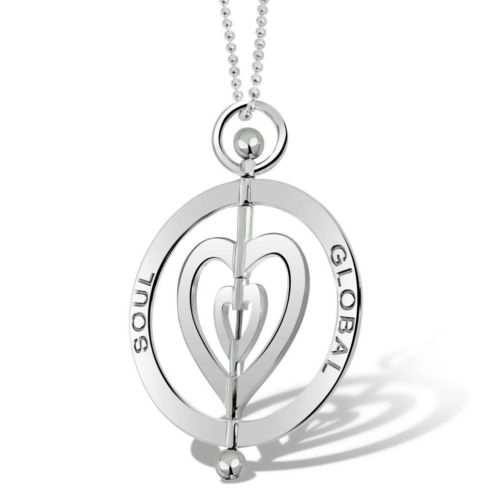 Harmony Heart Silver Pendant Necklace 5cm