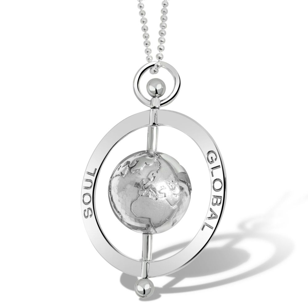Peace Globe Silver Pendant Necklace 5cm