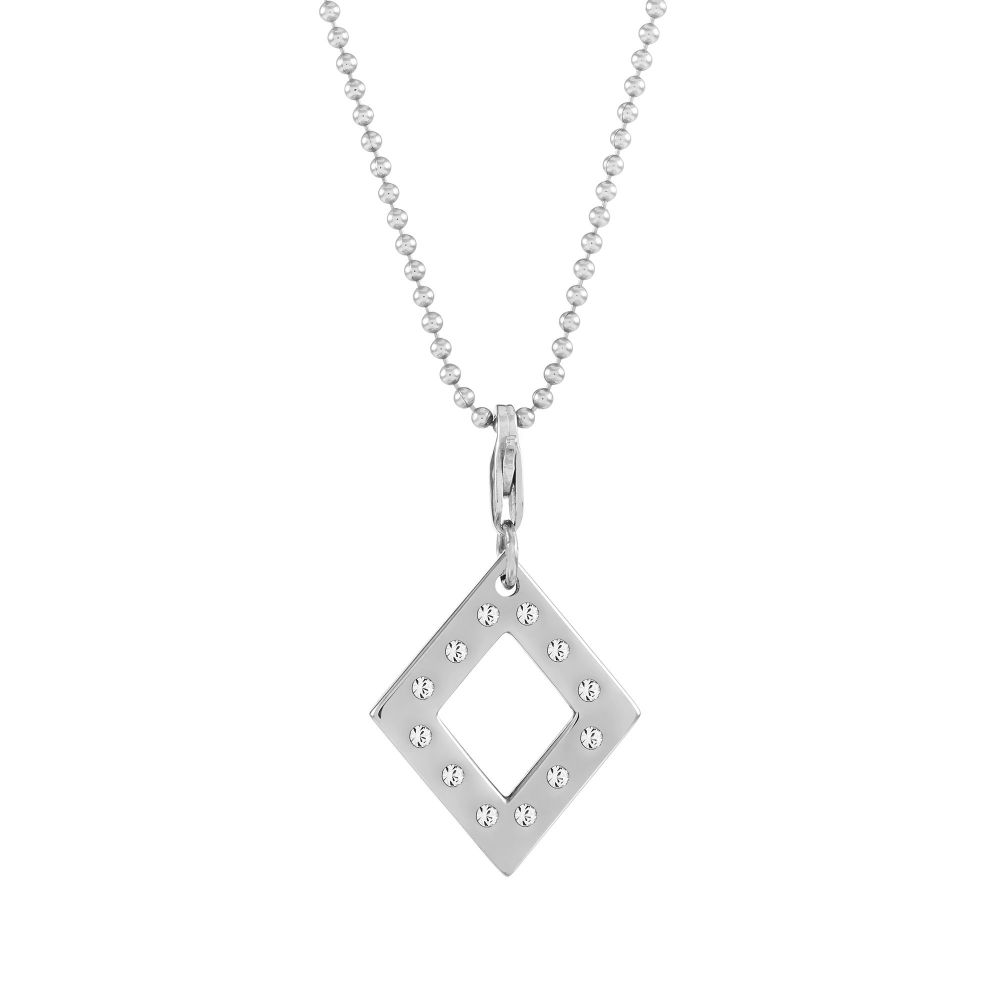 Balance Diamond Silver Charm Necklace
