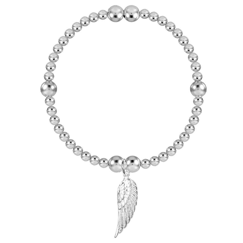 Angel By My Side  Silver Bead Stretch Bracelet