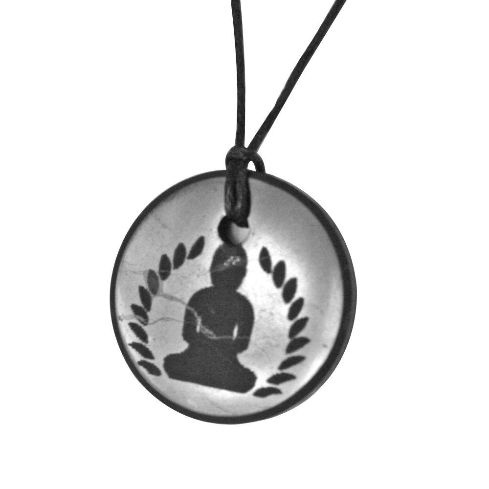 Shungite 3cm Buddha Round Pendant 5g & EMF Protection