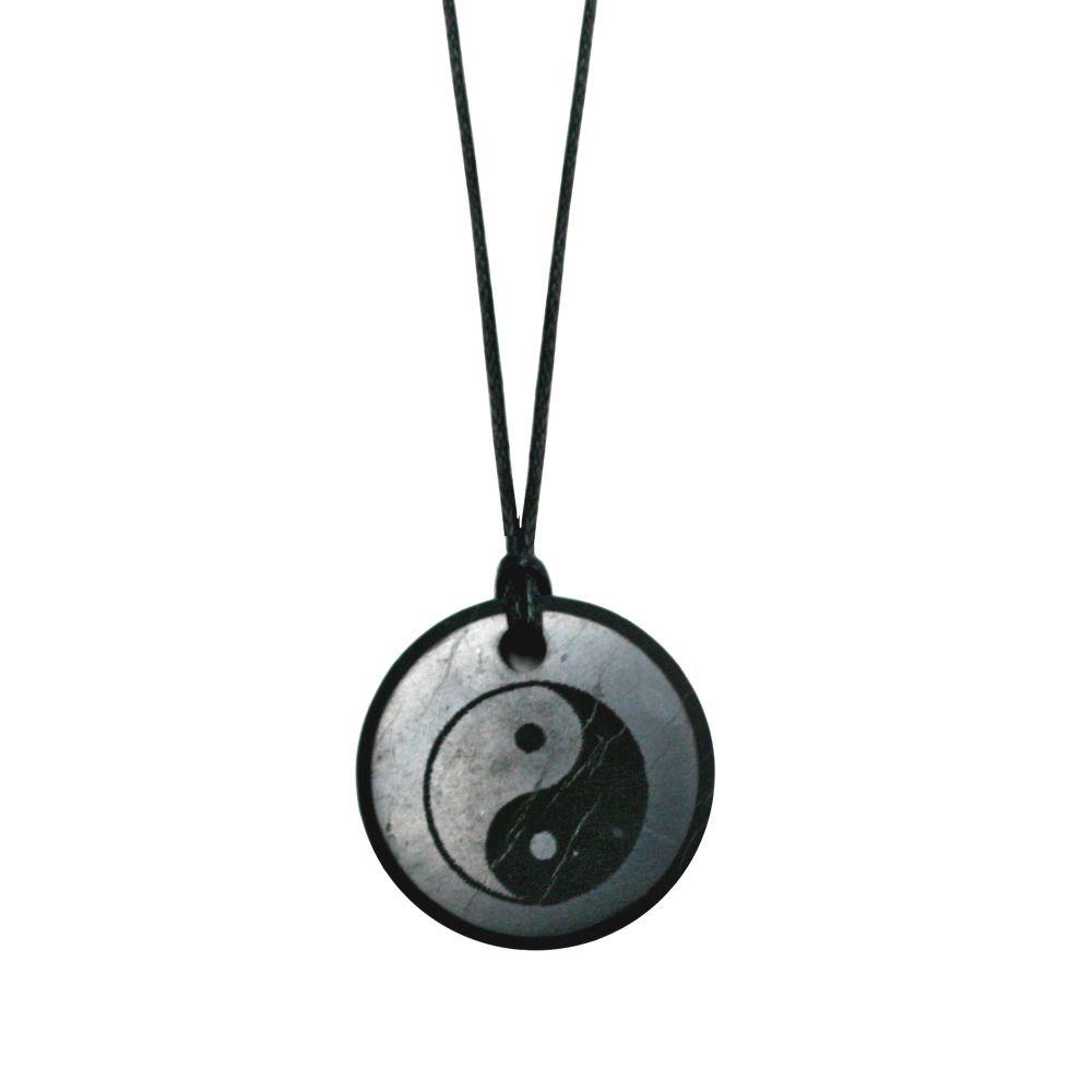 Shungite 3cm Yin/Yang Round Pendant 5g & EMF Protection