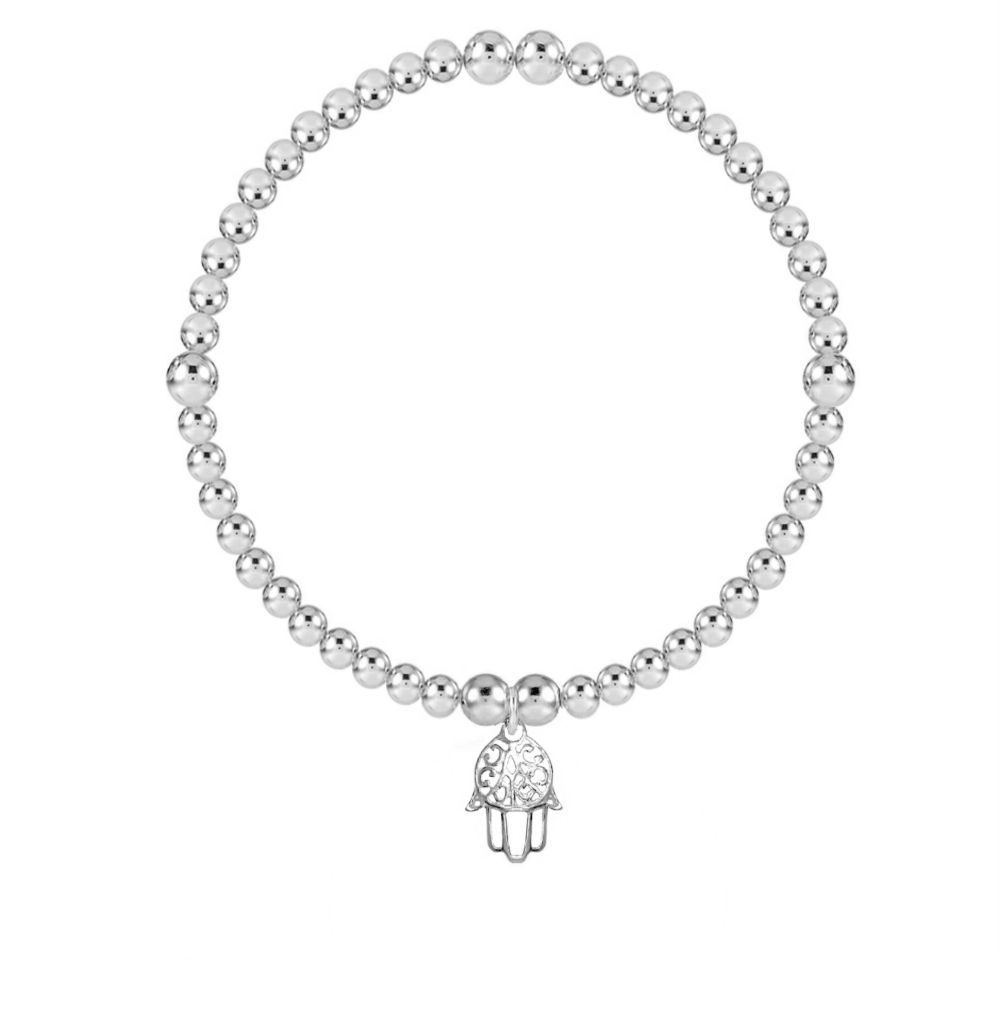 I AM Safe and Lucky Hamsa Silver Stretch Bracelet