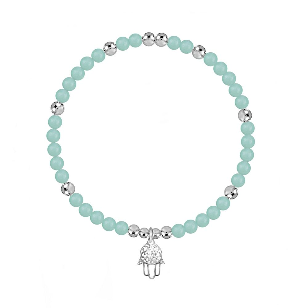 I AM Safe and Lucky Stretch Amazonite  Bracelet