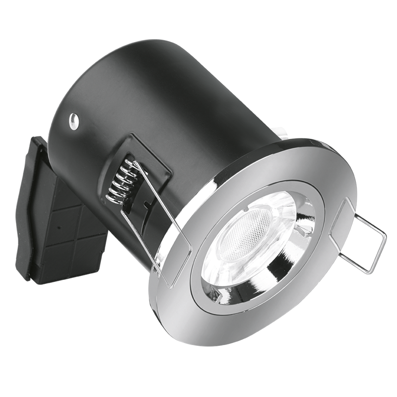Fire Rated Fixed GU10 Downlight with Polished Chrome Bezel
