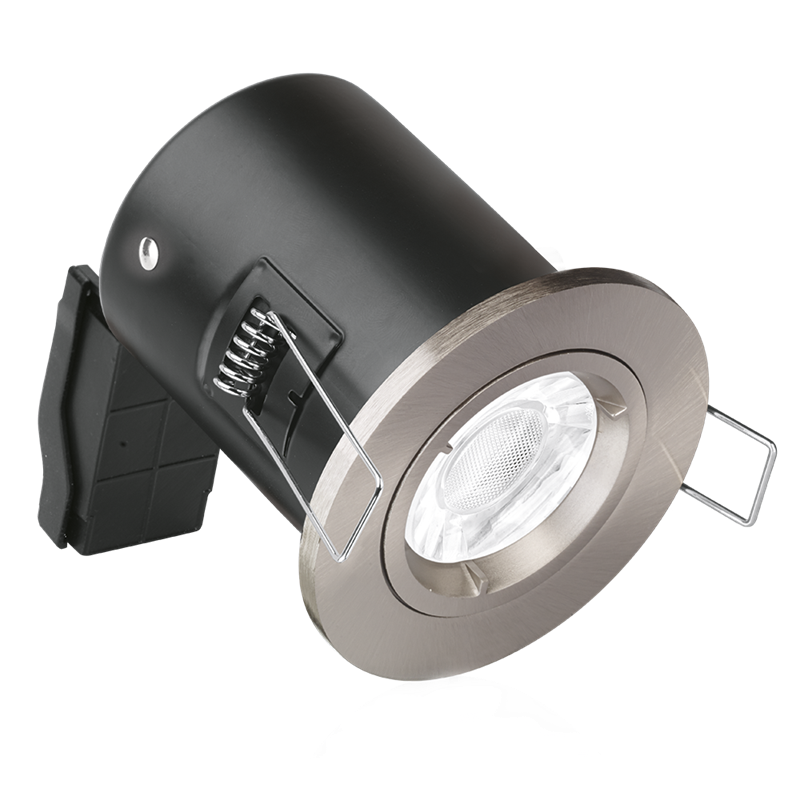 Fire Rated Fixed GU10 Downlight with Satin Nickel Bezel