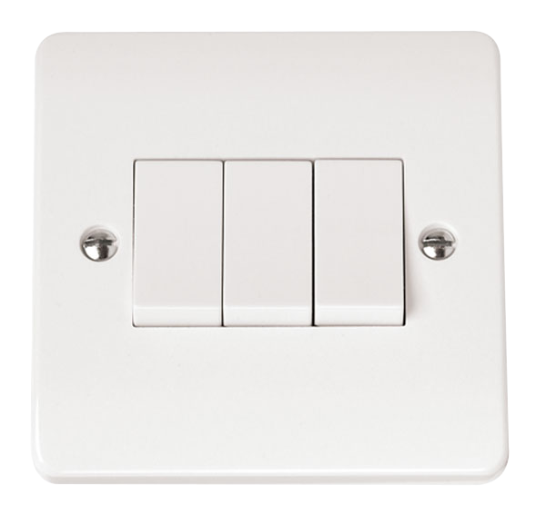 Click Mode 3 Gang 2 Way 10A Plate Switch