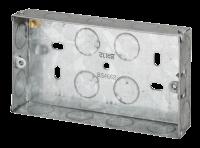 2 Gang 25mm K/O Galv Metal Box