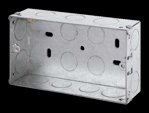 2 GANG 35MM K/O GALV METAL BOX