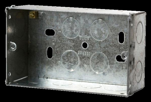 2 Gang 47mm K/O Galv Metal Box