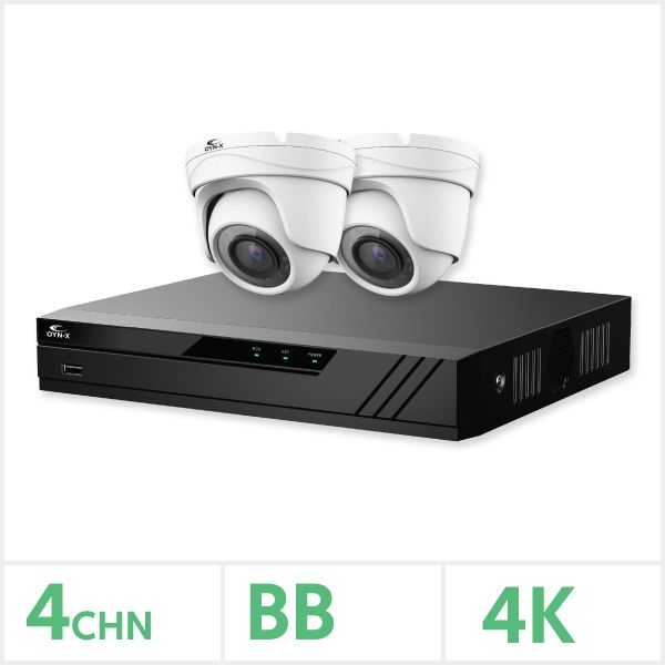 Eagle AHD CCTV Kit - 4 Channel 1TB 2x 8MP Turret Cameras (White)