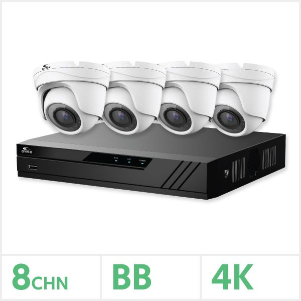 Eagle IP CCTV Kit - 8 Channel 1TB NVR with 4 x 8MP Fixed Turret Cameras (White)