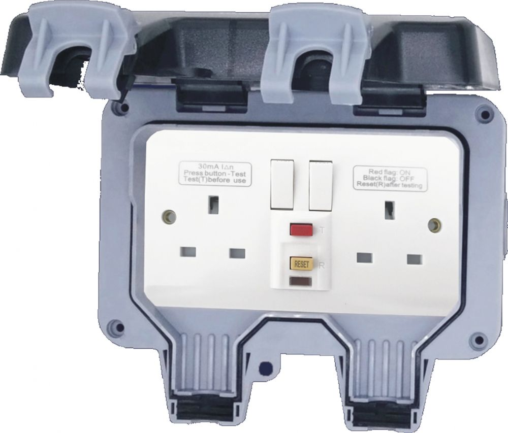 Outdoor IP66 2 Gang RCD Switched Socket