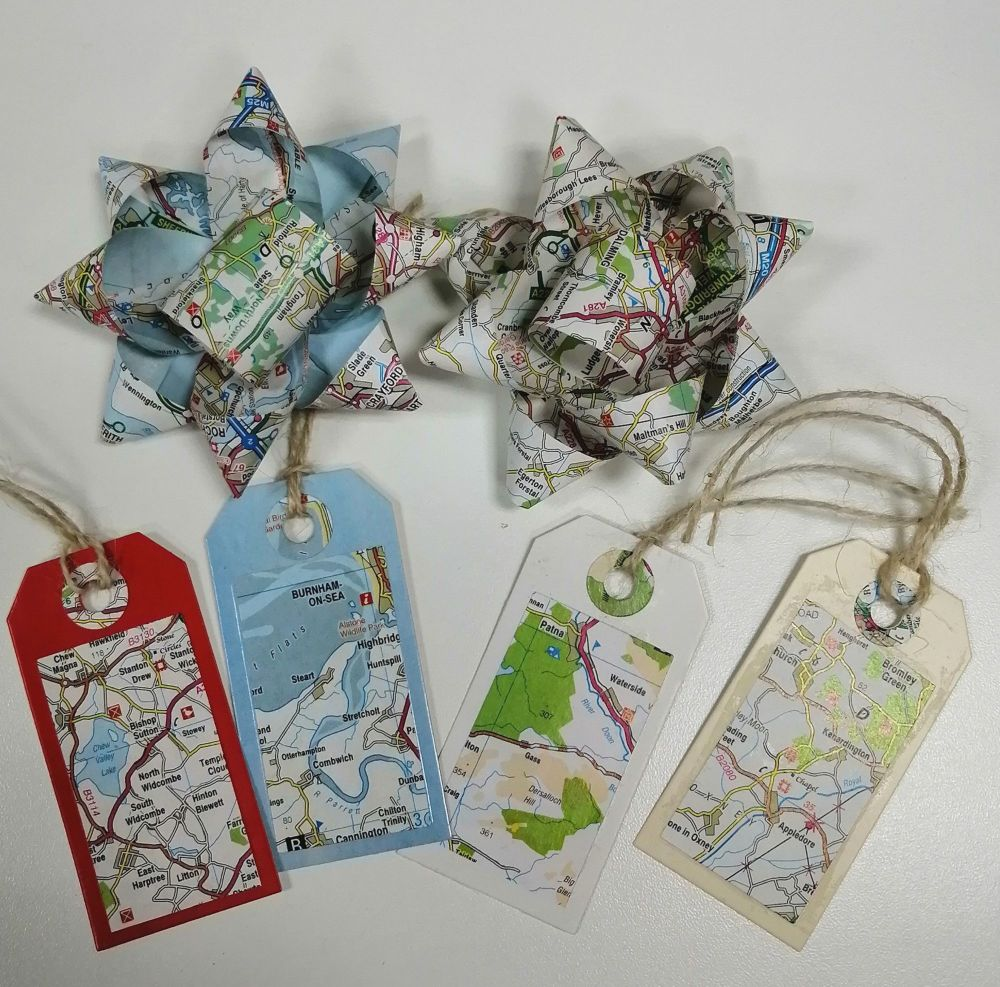 Upcycled gift tags and bows