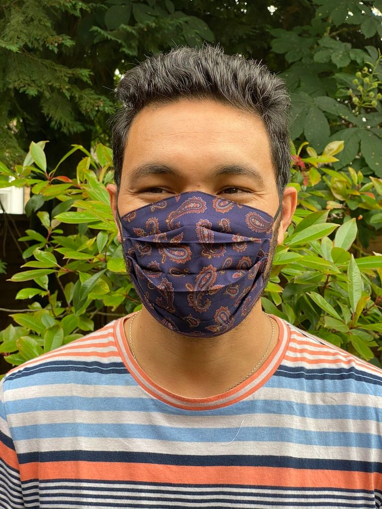 1024 Face mask blue paisley - front view