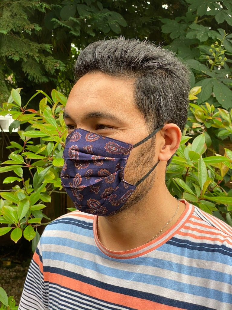 1024 Face mask dark blue paisley - side view