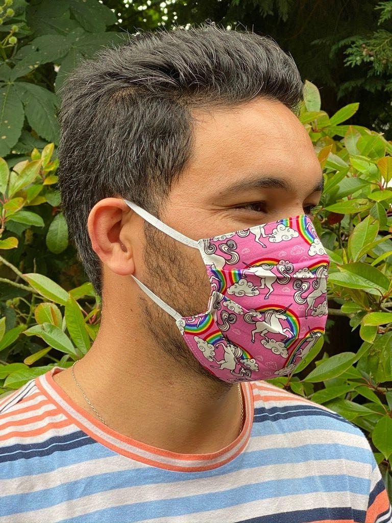1024 Face mask pink unicorns side view.JPEG