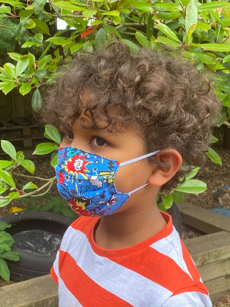 1024 Child face mask blue k-pow fabric - side view