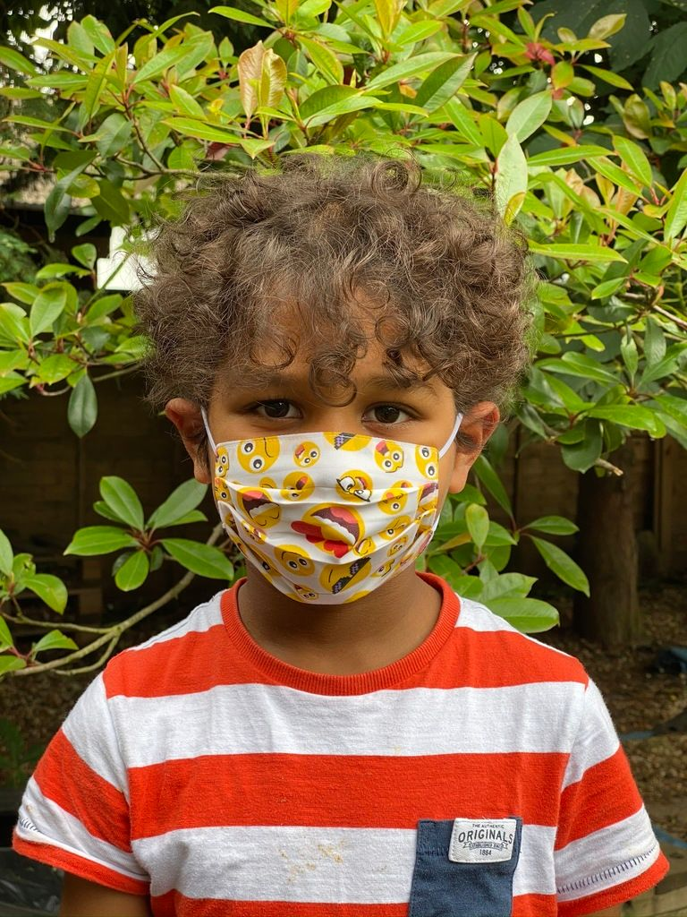 1024 Child face mask emoji fabric - front