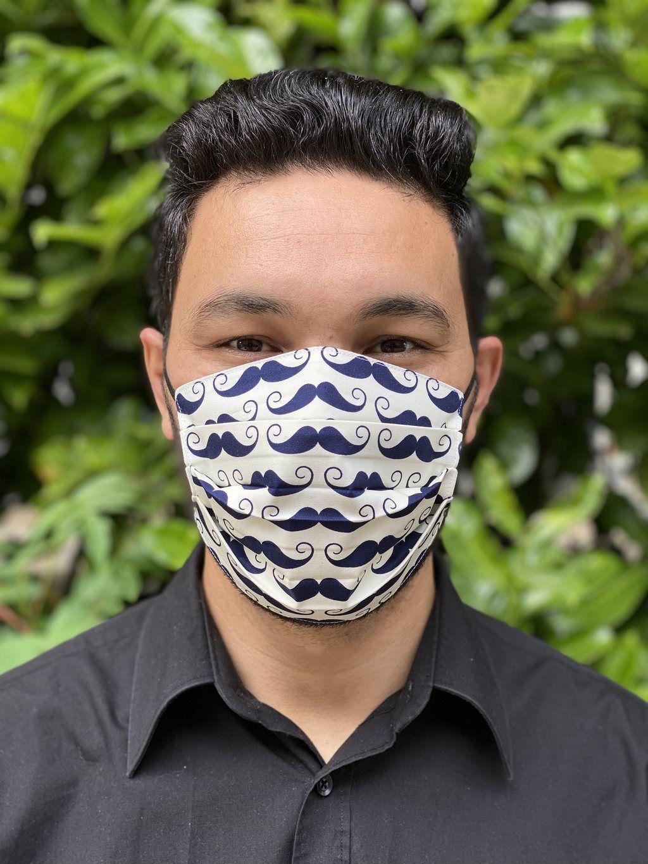 Blue Moustaches on White