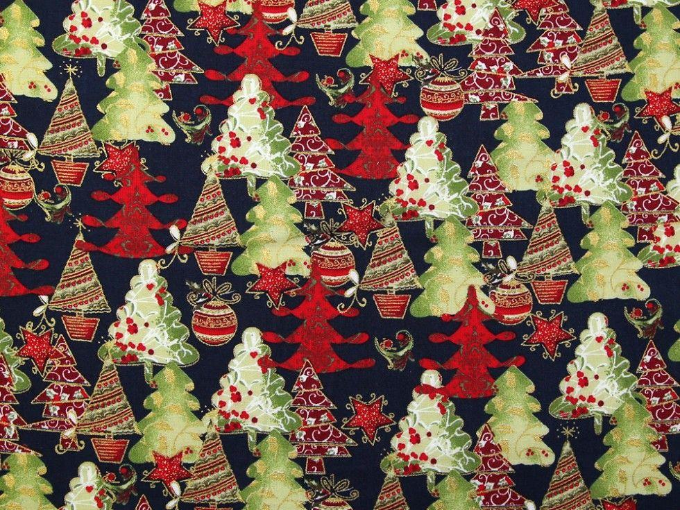 Christmas Trees on Navy