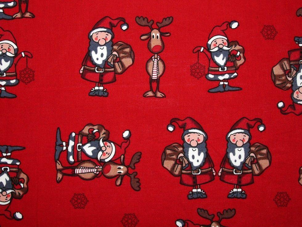 Santa & Reindeer on Red