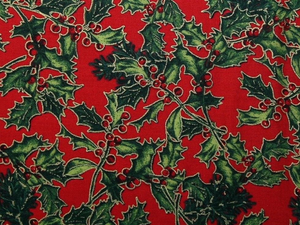 Holly & Berries on Red
