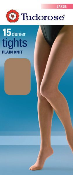 Large size 15 denier plain knit tights with gusset
