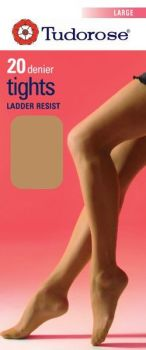 Large size 20 denier tights - ladder resist with gusset (Image for reference only)
