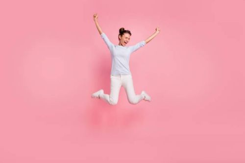 jumping lady, pink background
