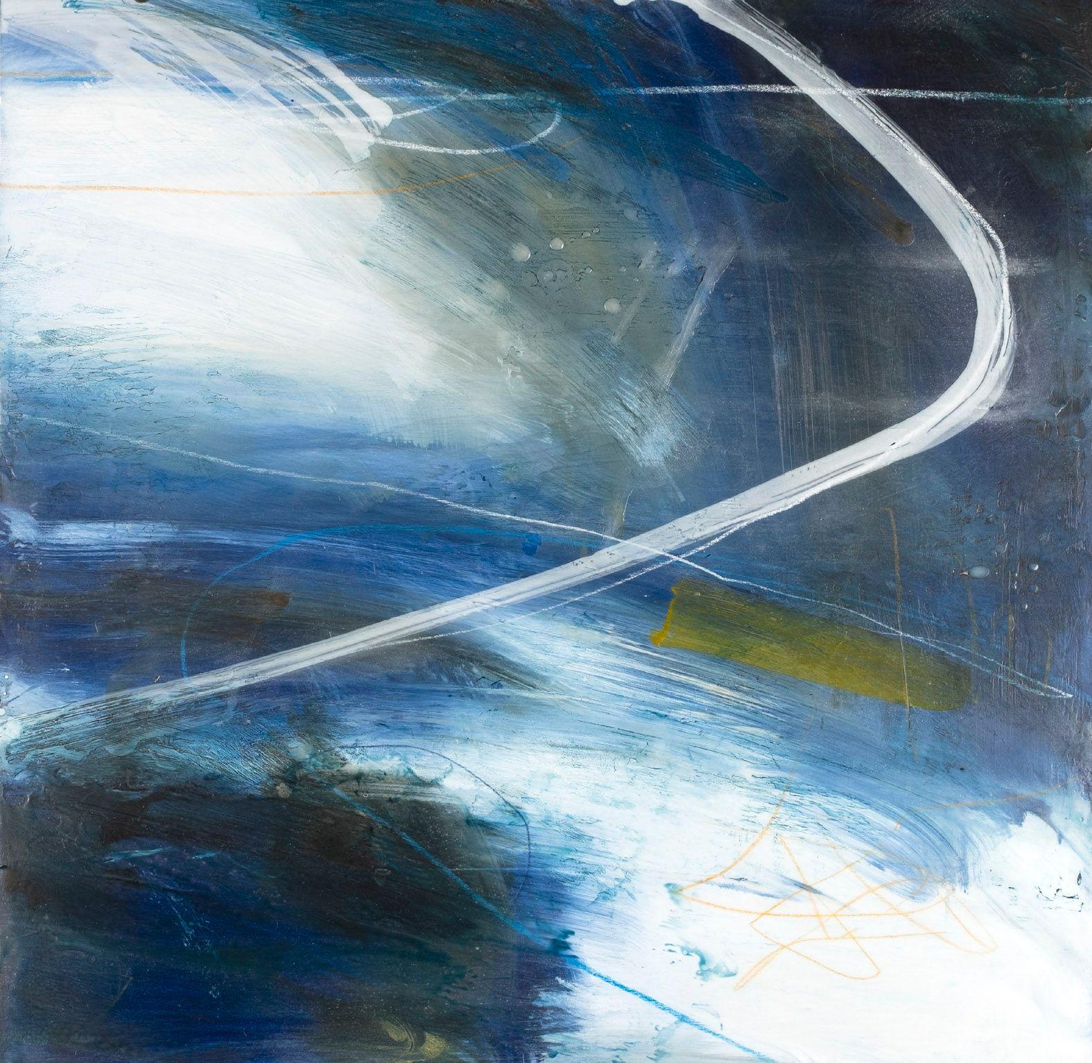 Blue encaustic wax painting