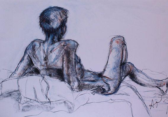 Blue male reclinging figure