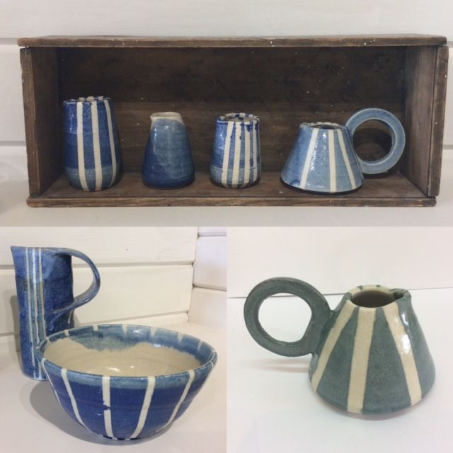 Striped blue and white jugs and bowls